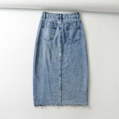 Wholesale Summer High Waist Irregular Split Arm A-line Skirt NSAM54557
