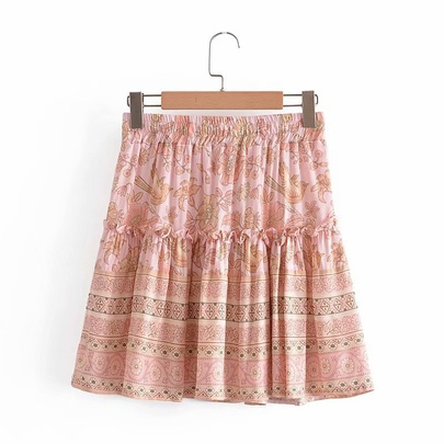 Wholesale Spring Elastic Waist Mini Ruffle Skirt NSAM54576
