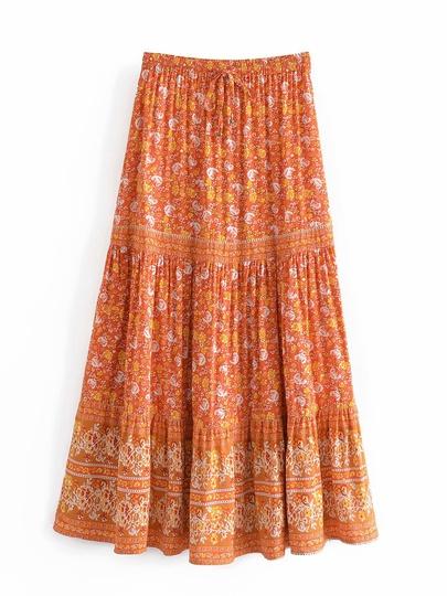 Wholesale Bohemian Cotton Printed Lace Stitching Elastic Waist Skirt NSAM54580