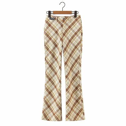 Wholesale Retro Plaid Lace-up Slim Casual Plaid Pants NSAM54591