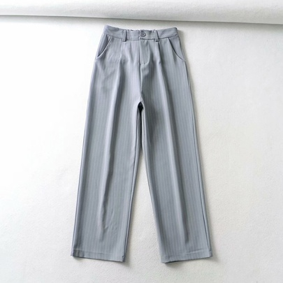Wholesale Retro Fashion Striped Loose High Waist Drape Wide-leg Straight-leg Pants NSAM54593