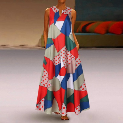Loose Retro V-neck Sleeveless Pockets Print Color Block Stitching Sleeveless Dress NSLIB55035