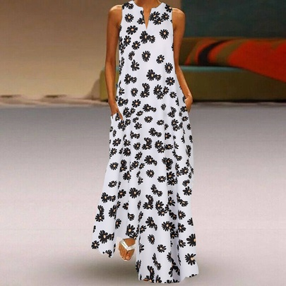 Fashion Small Daisy Print Sleeveless Big Swing Long Dress NSLIB55037