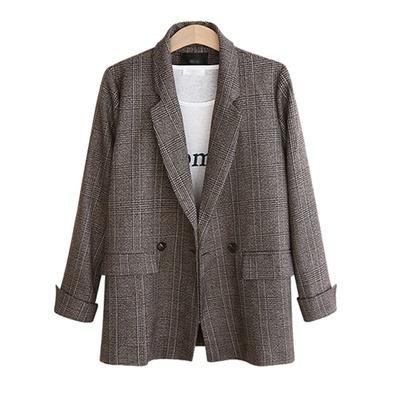 Spring And Autumn New Retro Simple Large Size Loose Plaid Jacket NSLIB54971