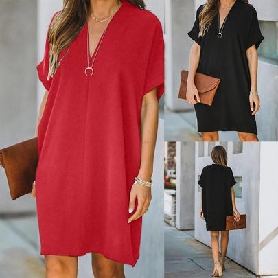 Plus Size Loose Solid Color Short-sleeved Mid-length Dress  NSLIB54966