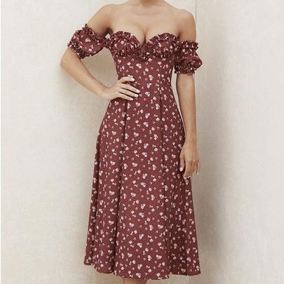 Floral Strapless Tube Top High Waist Long Dress NSYIS55004