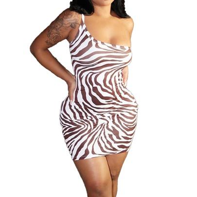 One-shoulder Suspenders Water Ripple Printed Backless Short Dress NSHHF53650