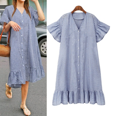 Plus Size Loose Plaid Casual Single-breasted Short-sleeved Mid-length Dress  NSLIB55508