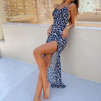 Sexy Strap Summer Fashion Beach Holiday Style Leopard Print Dress NSLIB55670