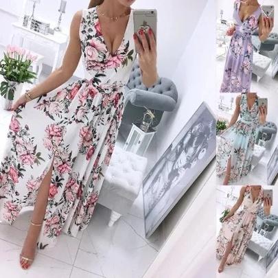 Summer New Style V-neck Chiffon Print Long Dress NSLIB55657
