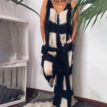 Fashion Check Printed V-neck Sleeveless Loose Jumpsuit NSHEQ55264