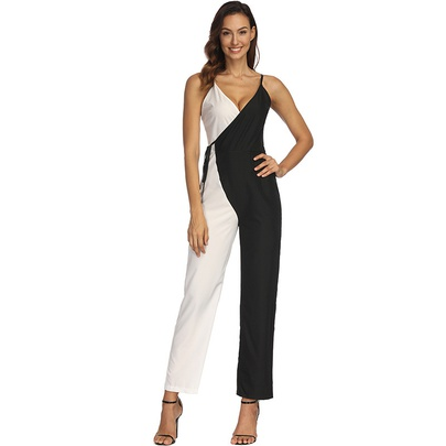 Fashion Black And White Color Matching Sexy Suspender Jumpsuit  NSHEQ55265