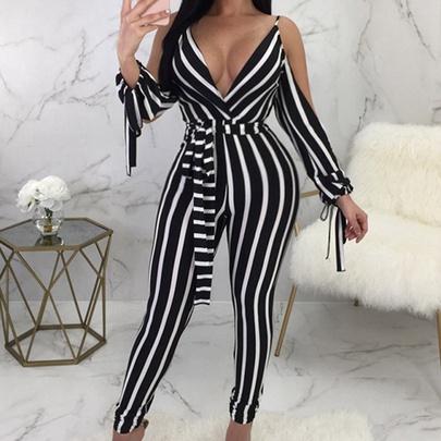 Sexy Deep V Backless Straps Off-shoulder Long Sleeve Striped Jumpsuit NSHEQ55268