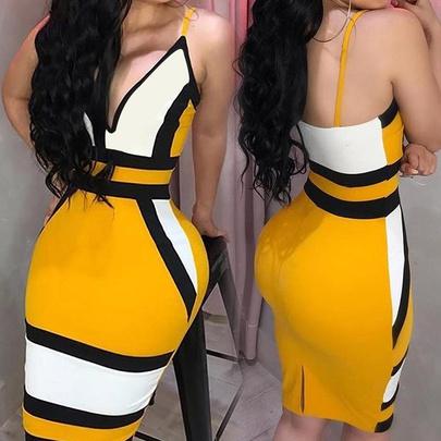 Sexy Deep V High Waist Contrast Color Print Suspender Dress NSHEQ55269