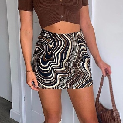 Water Ripple Printing High Waist Casual A-line Short Skirt  NSRUI55272