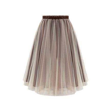 Organza Fashion High Waist Fluffy Skirt NSLIH55283