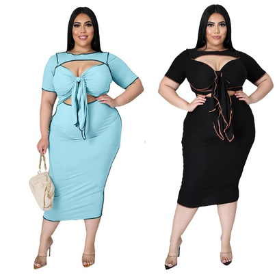 Fashion Plus Size Solid Color Hollow Strap Dress NSYMA55286