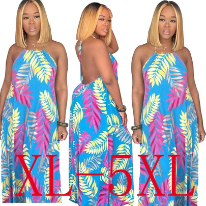 Spring New Hot Style Fashion Print Sexy Backless Sling Plus Size Dress NSYMA55295