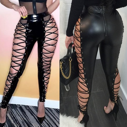 Black Fashion Sexy Casual Cross Tie-up Hollow Trousers NSYMA55304