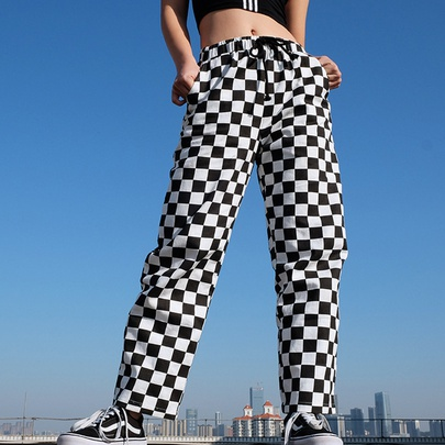 Black And White Check Color Contrast Casual Wide-leg Pants NSYMA55312
