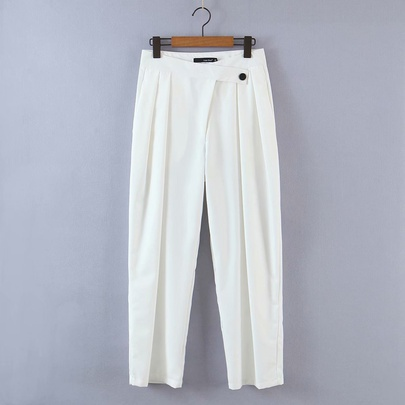 Loose Folds High Waist Solid Color Thin Casual Trousers  NSAM55328