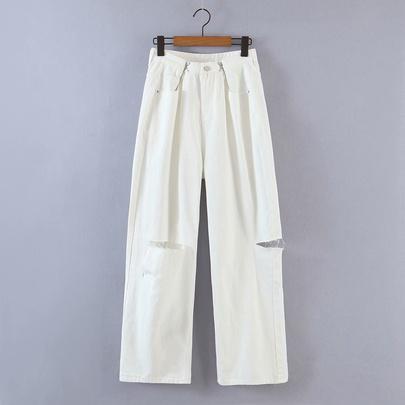 Hollow Pocket Loose High Waist Wide Leg Jeans  NSAM55334