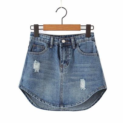 High Waist Pockets Irregular Bag Hip Denim Skirt  NSAM55338
