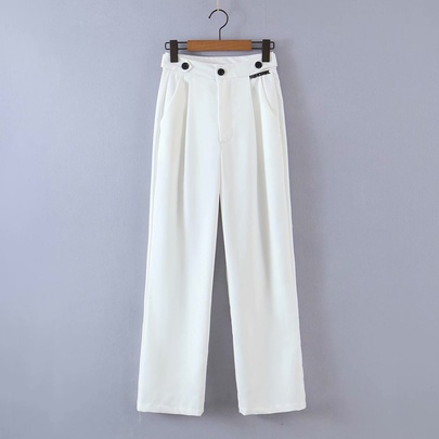 Solid Color High Waist Casual Three Buttons Wide-leg Suit Pants  NSAM55339