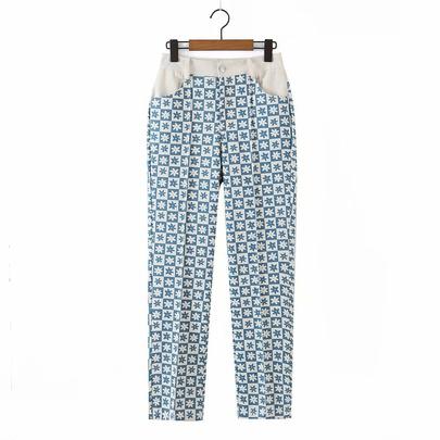 Printed Splicing High Waist Loose Straight Casual Pants  NSAM55344