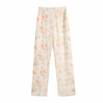 Printing High Waist Straight Leg Casual Pants  NSAM55345