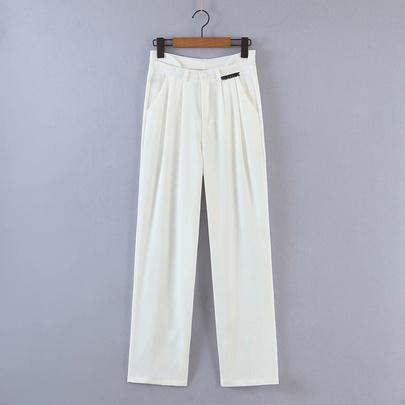 Solid Color High Waist Drape Loose Straight-leg Suit Pants  NSAM55350