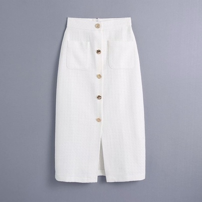 Solid Color High Waist Single Breasted Pocket Texture Skirt  NSAM55355