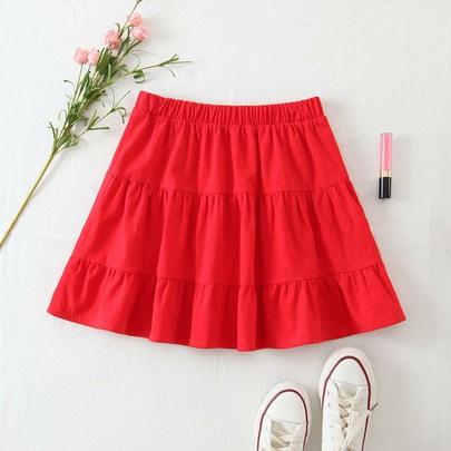 Solid Color Elastic High-waist Splicing Ruffled Skirt  NSAM55375