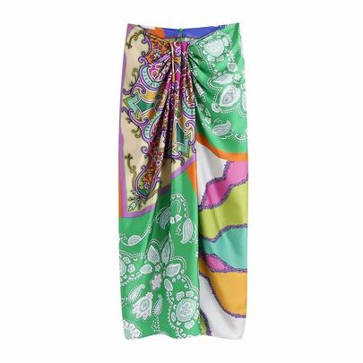 High Waist Knot Decorated Printed Bag Hip Long Skirt  NSAM55379