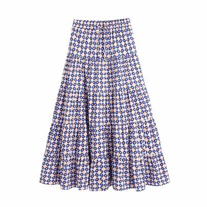 Geometric Graphic Print High Waist Lace-up Big Swing Skirt NSAM55385