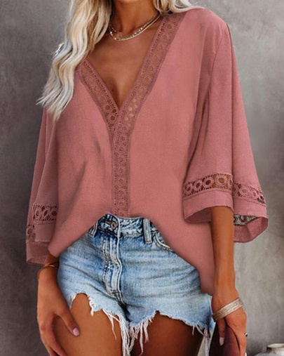 Summer Style V-neck Hollow Lace Shirt Top NSLIB55664