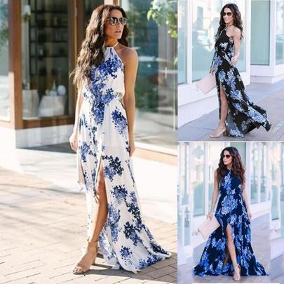Summer New Bohemian V-neck Chiffon Sleeveless Dress  NSLIB55665