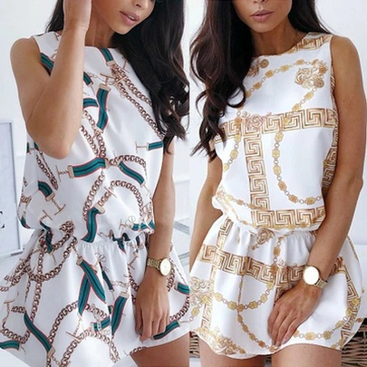 Chain Print Summer New Round Neck Waist Sleeveless Dress NSLIB55654