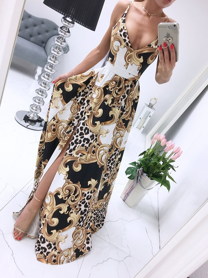 Summer New Printed Split Sling Long Skirt NSLIB55645