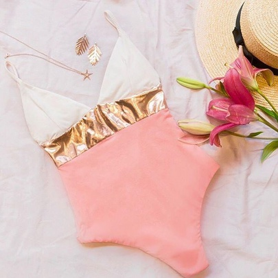 Color Block Gold Bikini Swimsuit NSLUT55630