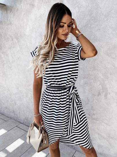 Summer New Style Plus Size Striped Irregular Slim Mid-length Dress NSLIB55629