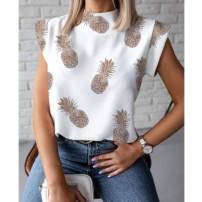 New Stand-up Collar Pineapple Print Ladies Shirt NSJIM55602