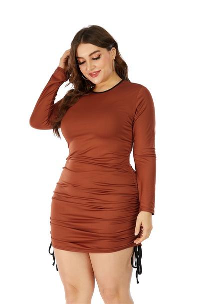 Plus Size Round Neck Long Sleeve Color Matching Drawstring Hip Skirt NSLIB55594