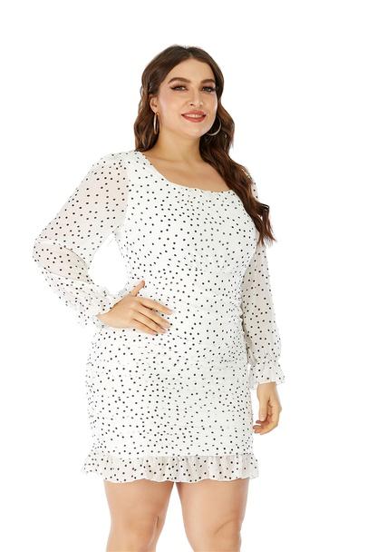 Large Size Polka Dot Chiffon Pleated Long-sleeved Hip Skirt NSLIB55593