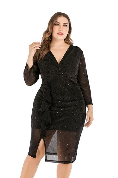 Large Size V-neck Black Loose Nine-point Sleeves Split Dress  NSLIB55589