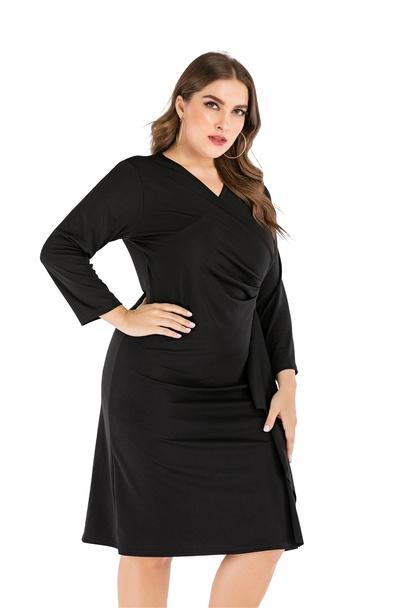 Plus Size V-neck Black Long-sleeved Bag Hip Dress  NSLIB55587