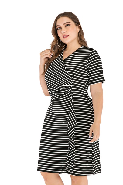 Plus Size Striped Short Sleeve V-neck Slimming Dress  NSLIB55585