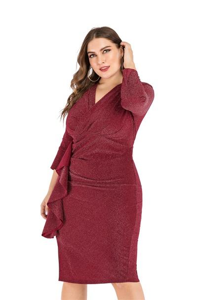 Plus Size V-neck Nine-point Sleeves Split One-step Dress NSLIB55584
