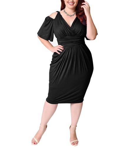 Plus Size Short-sleeved Strapless High Waist Sexy Dress NSLIB55582