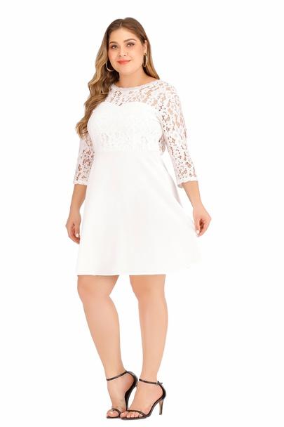 Large Size Long-sleeved Sexy Lace Backless Dress  NSLIB55581